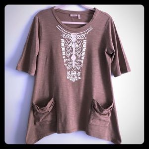 LOGO Tunic Top with Beaded Design